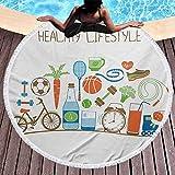 Asciugamano da spiaggia premium Tappezzeria per il fitness Tappetino da yoga Nappe Cerchio Tema sanitario Atletico Energico Routine di vita Benessere Attrezzature da palestra Verdure Morbide, a prova