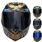 Wwtoukui Doble Lente Casco de Moto,Casco Integral de Faraón Cobra Locomotora de Carreras de Motos Personalizadas, Casco Integral,Certificación Estándar Dot/ECE,Apto para Todas Las Estaciones,A,M