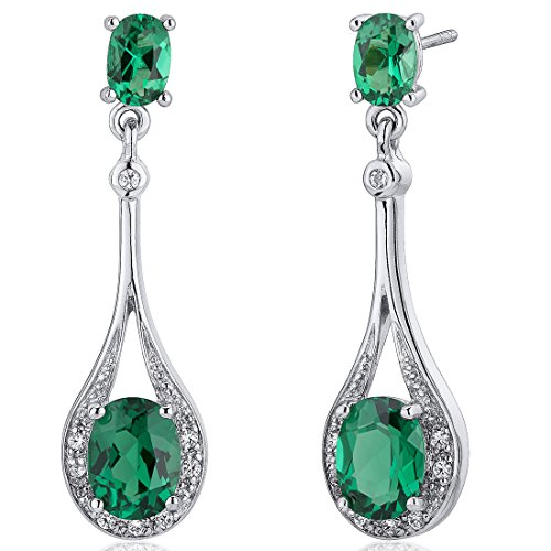 Simulated Emerald Dangle Earrings Sterling Silver 3.50 Carats