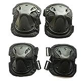 wellsem Outdoor Sports Tactical Combat Knee & Elbow Protective Pads Skate Knee 4Pcs/Set (Black)