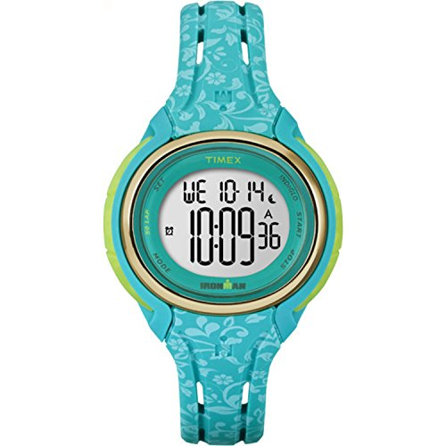 Timex Women's TW5M03100 Ironman Sleek 50 Blue Floral Silicone Strap Watch
