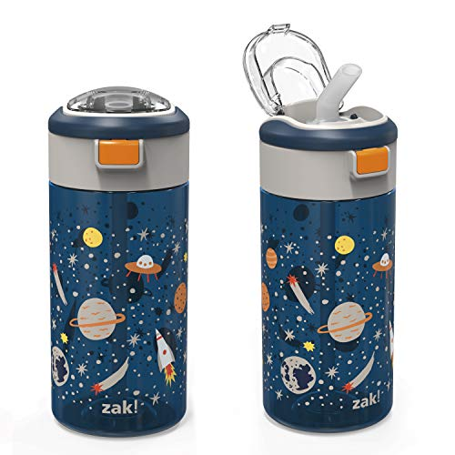 Zak Designs Genesis Durable Non BPA Plastic 18 oz Kids Water Bottle with Interchangeable Lid and Built-In Carry Handle, Leak-Proof Design is Perfect for Outdoor Sports, Space