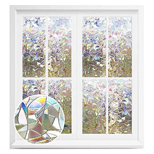3D Nicht Klebende Fensterfolien Regenbogen-Fenster-Folie Selbstklebend Privatsphäre Dekorative Fensteraufkleber 3D Leimlosen Bereifter Glasmalerei Dekorativer Holographischer Aufkleber 45x300cm