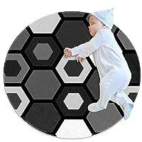エリアラグ軽量 黒と白の六角形 フロアマットソフトカーペット直径39.4インチホームリビングダイニングルームベッドルーム