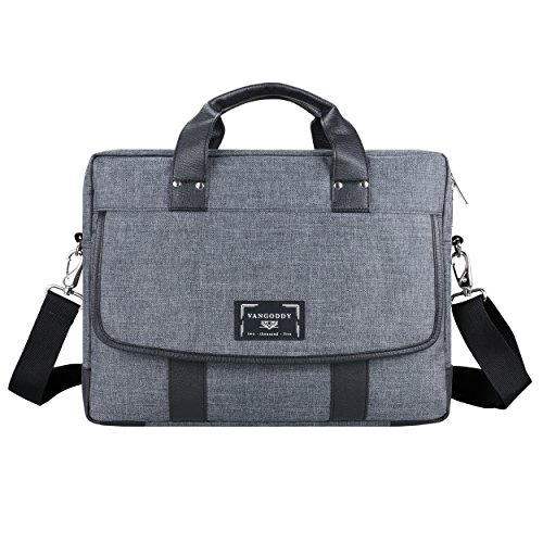 Fashionable Water Resistant 17.3 Inch Chrono Grey 2 in 1 Tote Messenger Bag Carrying Briefcase Handbag for Dell, Latitude, Vostro, XPS, Precision
