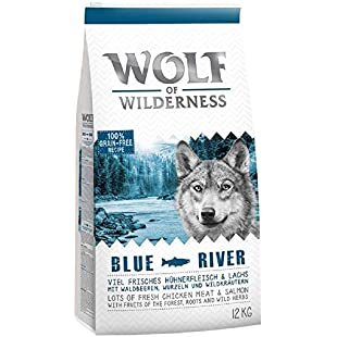PaylesswithSS 12kg Wolf of Wilderness Dry Dog Food + 2kg Extra Free (Variety of Flavours) (Adult Blue River - Salmon):Eventmanager