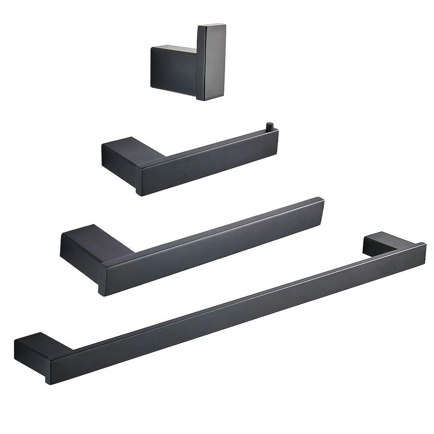 Gimili Bathroom Hardware Set Include Towel Bar Towel Ring Toilet Paper Holder Robe Hooks Bathroom Accessories Sets Complete,Matte Black