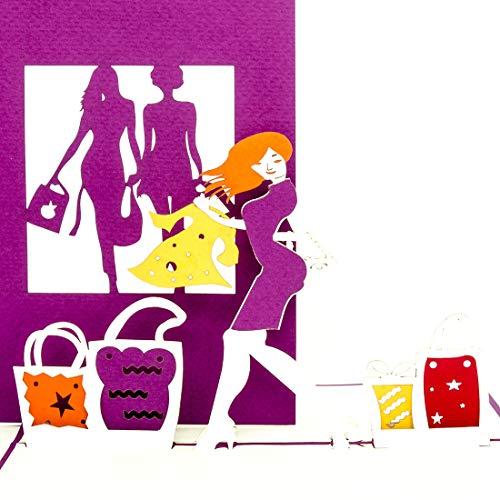 Pop-Up Karte Shopping - 3D Grußkarte & Geburtstagskarte – als Einkaufsgutschein & Geschenkgutschein, 3D Shopping Gutschein zum Geburtstag