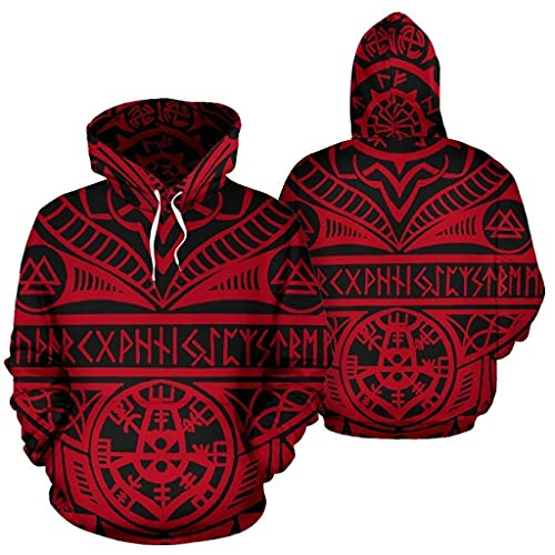 XBOMEN Viking Novedad Sudadera Con Capucha, Impresión 3D Odin Celtic Tree Of Life Awe Tattoo Street Wear, Disfraz Amuleto Pagano Mitología Nórdica (Color : Red, Size : XL)
