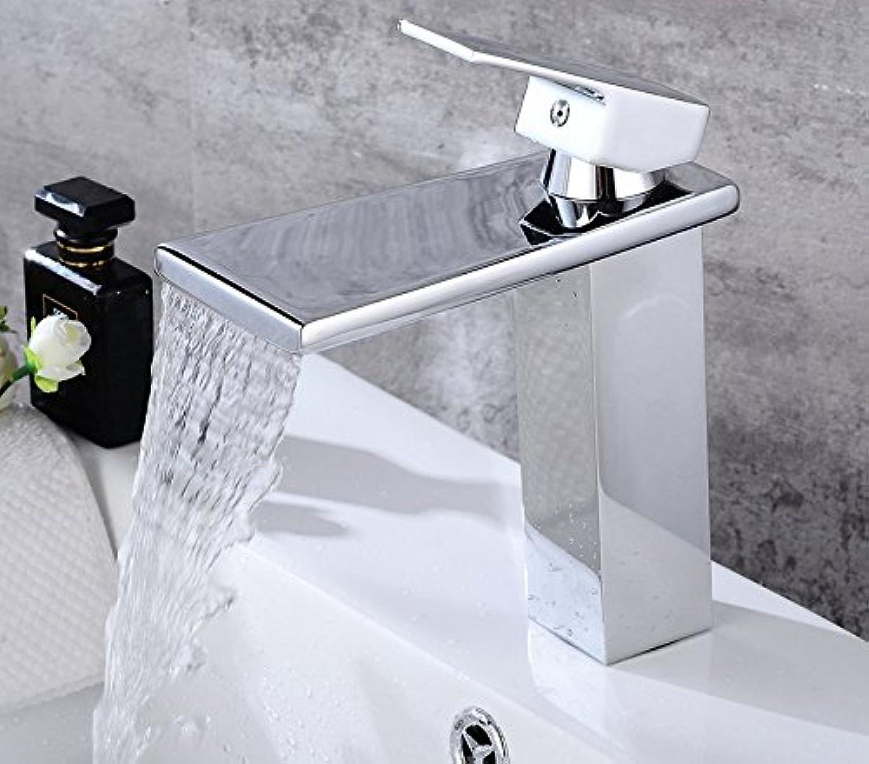 Diongrdk Bathroom Basin Sink Faucet Waterfall Widespread Chrome Polish Single Handle Single Hole Mixer Tap Deck Mount
