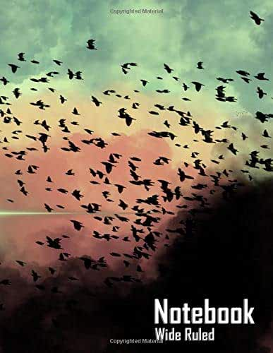 """Notebook - Birds in the Clouds (Wide Ruled, Matte Softcover, 196 White Lined Pages, 8.5"""" x 11"""" (21.59 x 27.94 cm))"""