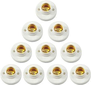 Jixista Portalámparas de Bombilla E27 Casquillo Redondo E27 Blanco LED Lámpara Bombilla Lámpara Socket Tornillo Base Redondo Plástico Convertidor Bombilla Base Lámpara Adaptador 10PCS