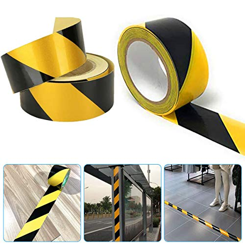 Safety Tapes, Premium Yellow Caution Tape, Black/Yellow Hazard Warning Tape Adhesive Marking Barrier Tape for Stairs Safety Tread Step Indoor Outdoor Caution (48mm*33m)