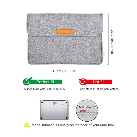 """Inateck 12.3-13 Inch Laptop Sleeve Case Compatible with 2020 MacBook Air, MacBook Pro 13'' 2020/2019/2018/2017/2016… 2 【Fit perfectly only for Apple 12 inch MacBook(Release 2017/2016/2015), and NOT FIT other models】Not designed for 11.6 inch MacBook Air and other laptops. Internal dimensions: 11.2"""" x 7.8"""" - 28.5 x 20 cm; External dimensions: 12.2& x 8.7& - 31 x 22.2 cm High-quality felt outside and soft flannel inside. Practical design and exquisite workmanship; Durable and sustainable."""
