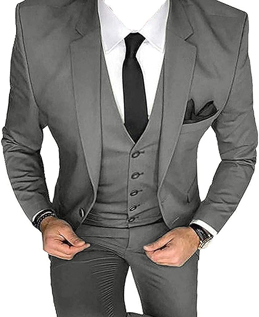 Men's Suit Slim Fit Wedding Groom Tuxedos Notched Lapel Blazer 3 Pieces Bridegroom Prom Suits