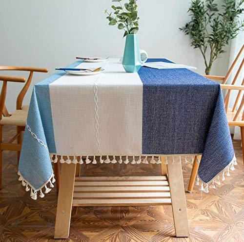 GCQBLM Mantel Antimanchas Mantel Jacquard De Lino Y Algodón A Rayas Azules Y Blancas, Mantel Bordado, Mantel Nórdico De Color Liso -140 * 300Cm