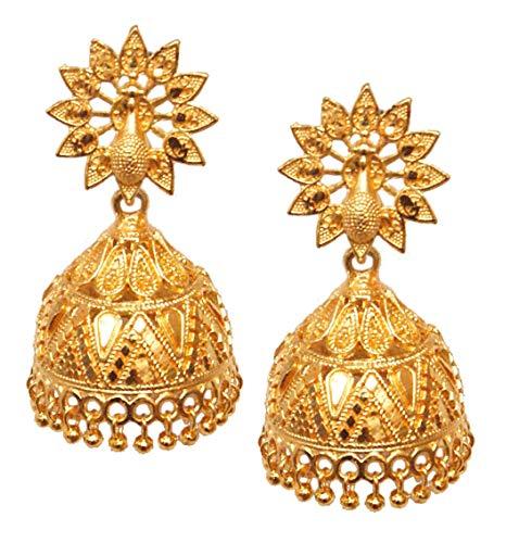 Pahal - Pendientes tradicionales grandes bañados en oro Jhumka Peacock Indian Bollywood para mujer (diseño 2)
