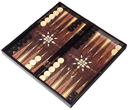 ATILLA 3in1 XXL Brettspiel NEU mit Tragetasche- Backgammon - TAVLA - Schach - Dame 47x47cm in Edelholzoptik mit BUCHSBAUM SPIELSTEINE