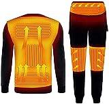 ZLJIA Calefacción de invierno ropa interior forro calefacción chaqueta usb calefacción eléctrica camiseta y pantalones - para invierno esquí y camping traje conjunto, negro -M