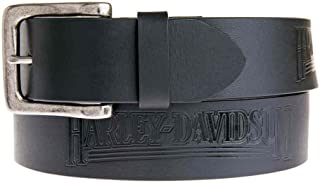 Harley-Davidson Men's Embossed Shot Caller Belt, Black Leather HDMBT11038-BLK