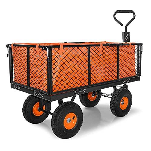 Carro para jardín con ruedas carga máx de 550 kg carretilla de jardín con lona extraíble transporte fácil con rejilla adicional