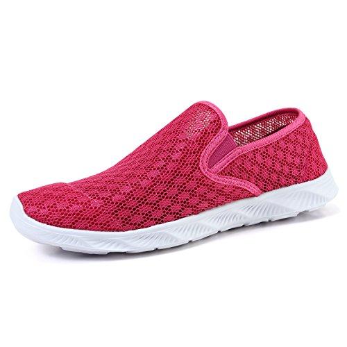 Hombres Mujeres Ligero Transpirable Agujero Superior Agujero Suela Secado Rápido Zapatos Vadeo Deportes Agua Zapatos Anfibios Zapatos Descalzos, Rojo 3, 37 EU