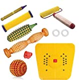 Ramdev Acupressure Wooden Foot Roller Acupressure Magnetic Stress Mat Combo Kit