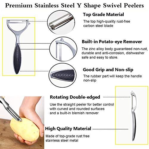 2Pcs Vegetable Peeler Potato Peelers for Kitchen,Y-Shaped Peeler for Potato,Veggie,Apple,Carrot,Fruit,with Ergonomic Non-Slip Handle,Good Grip