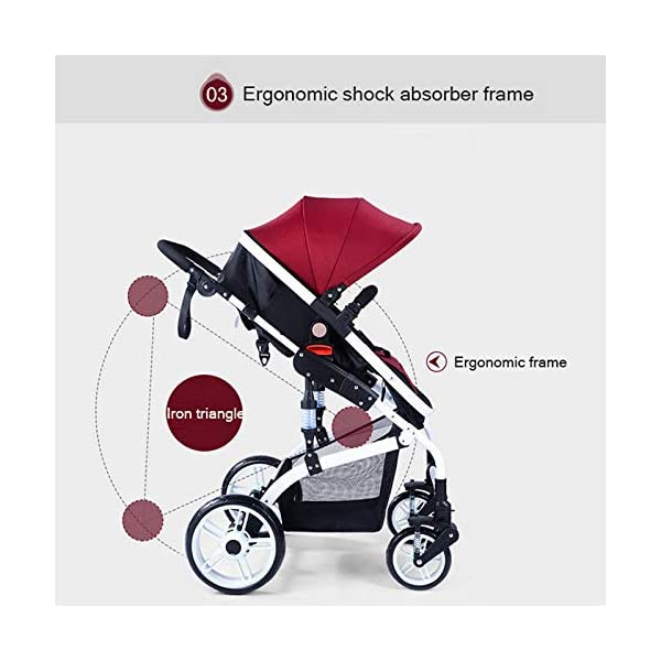 JXCC Baby Stroller Ultra Light Folding Child Shock Absorber Trolley Can Sit Half Lying 0-3 years old,25kg maximum -Safe And Stylish Blue JXCC 1.{All seasons} - Three-sided leaky net design, the awning can be adjusted at multiple angles, easy to cope with the sun 2.{75CM high landscape} - Baby can stay away from the surface heat, car exhaust, for the health of the baby 3.{3D stereo shock} - X-frame setting, evenly dispersing the upper weight, rear wheel two-wheel brake 4