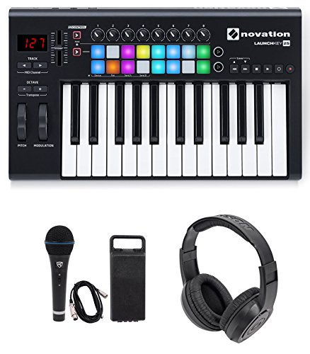 Amazing Deal Novation LAUNCHKEY-25-MK2 USB MIDI Keyboard Controller + Mic + Headphones