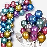 Juego de 50 globos de metal de colores, fiesta de cumpleaños, decoración de bodas, decoración de fiestas, decoración retro, decoración de bautismo, juego mixto de 7 colores (10 pulgadas)