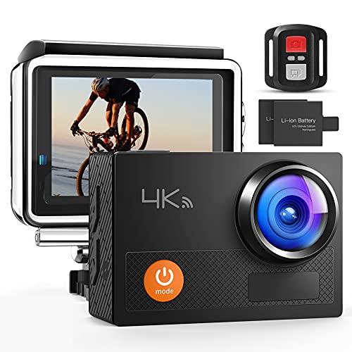 Action Cam , 4K Wi-Fi Ultra HD , Impermeabile 40M con Telecomando Fotocamera Subacquea Digitale, Hyper Stabilizzazione Videocamera con 2x1050mAh Batterie e Kits di Accessori