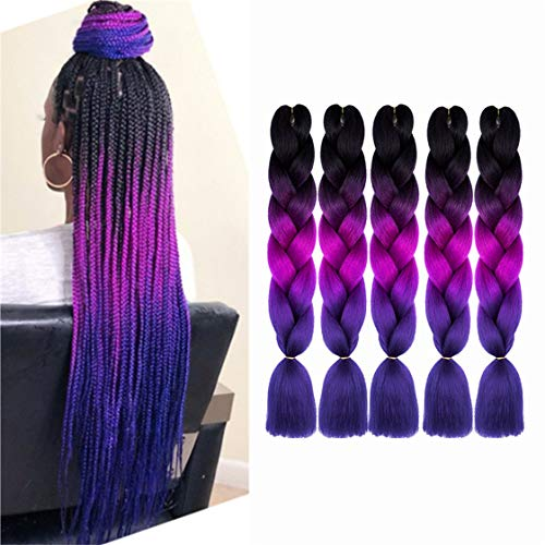 Jumbo Braiding Hair Extensions Kanekalon Braiding Hair Pre Stretched Afro 24 Inch Ombre Multiple Tone Colored Synthetic Hair For Box Twist Braids (black-purple-darkblue)