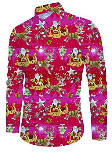 Idgreatim Youth Xmas Weihnachtsmann Hemd Bedruckt Volle Hülse Aloha Button Down Lustige Ferien Stil Herren Hässliche Weihnachtsweihnachtshemden Rot