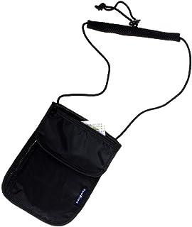 healthwen Moda portátil y compacta Travel Secure Neck Pouch Tarjeta de Pasaporte Ticket Money Secret Wallet Holster Bag Negro