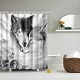 Boyouth Duschvorhang mit Motiv Wolf auf der Prairie, Digitaldruck, Polyester, wasserdicht, mit 12 Haken, 178 x 200 cm, mehrfarbig