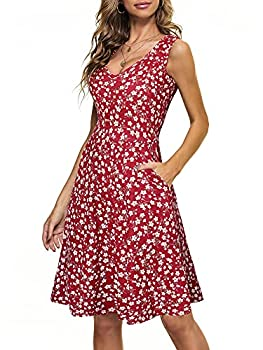 HUHOT Sun Dresses Women Casual Summer Beach Junior Dresses for Summer Sundresses for Juniors Wedding Guest Wine Red Floral Flared Midi Tank Dress with Pockets