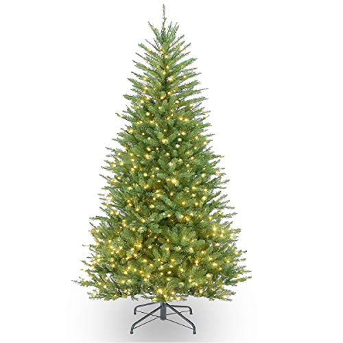 Kerrogee 6ft Lit Artificial Christmas Tree, 400 Warm White Lights Spruce Xmas Tree with 8 Lighting Modes and 1000 Premium Hinged Mixed Material Branch Tips, Foldable Stand