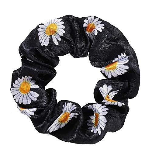 Clest F&H negro pequeño Daisy anillo de intestino grande lazos elásticos bandas para el cabello lazos accesorios para mujeres niñas