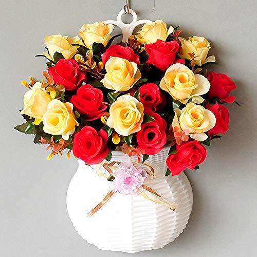 xgruisi kunstbloem hangende bloemen van de hangende mand in de pot decoratie Rayon en planten brachten aan de muur - bruin