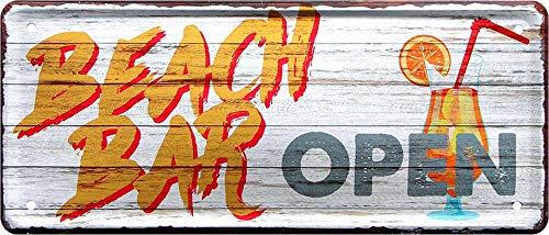 Cartel de chapa con texto en inglés 'Beach Bar Open Cartel decorativo de metal para puerta para pub mostrador o bar, idea de regalo para tu bebida y amigos 28 x 12 cm