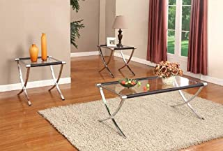 Kings Brand Furniture Glass Top Coffee Table & 2 End Tables Occasional Set, Chrome/Black