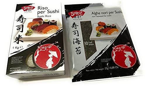 Kit Sushi Biyori - Riso per Sushi 1 Kg + Alghe Nori per Sushi 10 Fogli 25 g