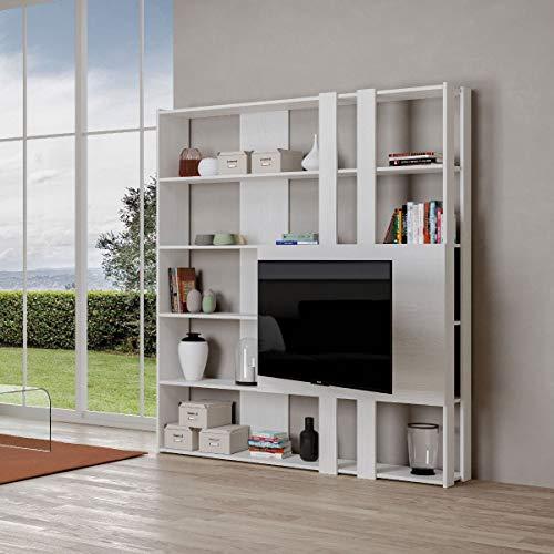 Libreria Composizione M Kato 6R 2 fianchi 2 fasce lunghe 2 fasce corte 2 fasce medie pannello TV Bianco Frassino