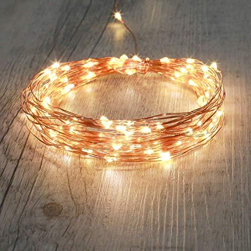 SKYLANTERN Guirlande LED Cuivre 10M - Guirlande Lumineuse LED 100 LEDs - Guirlande LEDs pour Deco Chambre, déco de Noël, Ambiance poétique et Romantique