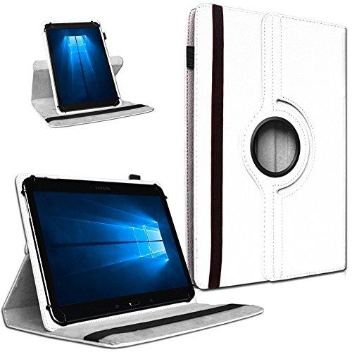 UC-Express Tablet Tasche 360° Drehbar Vodafone Tab Prime 7 Hülle Schutzhülle Universal Hülle Cover, Farben:Weiß