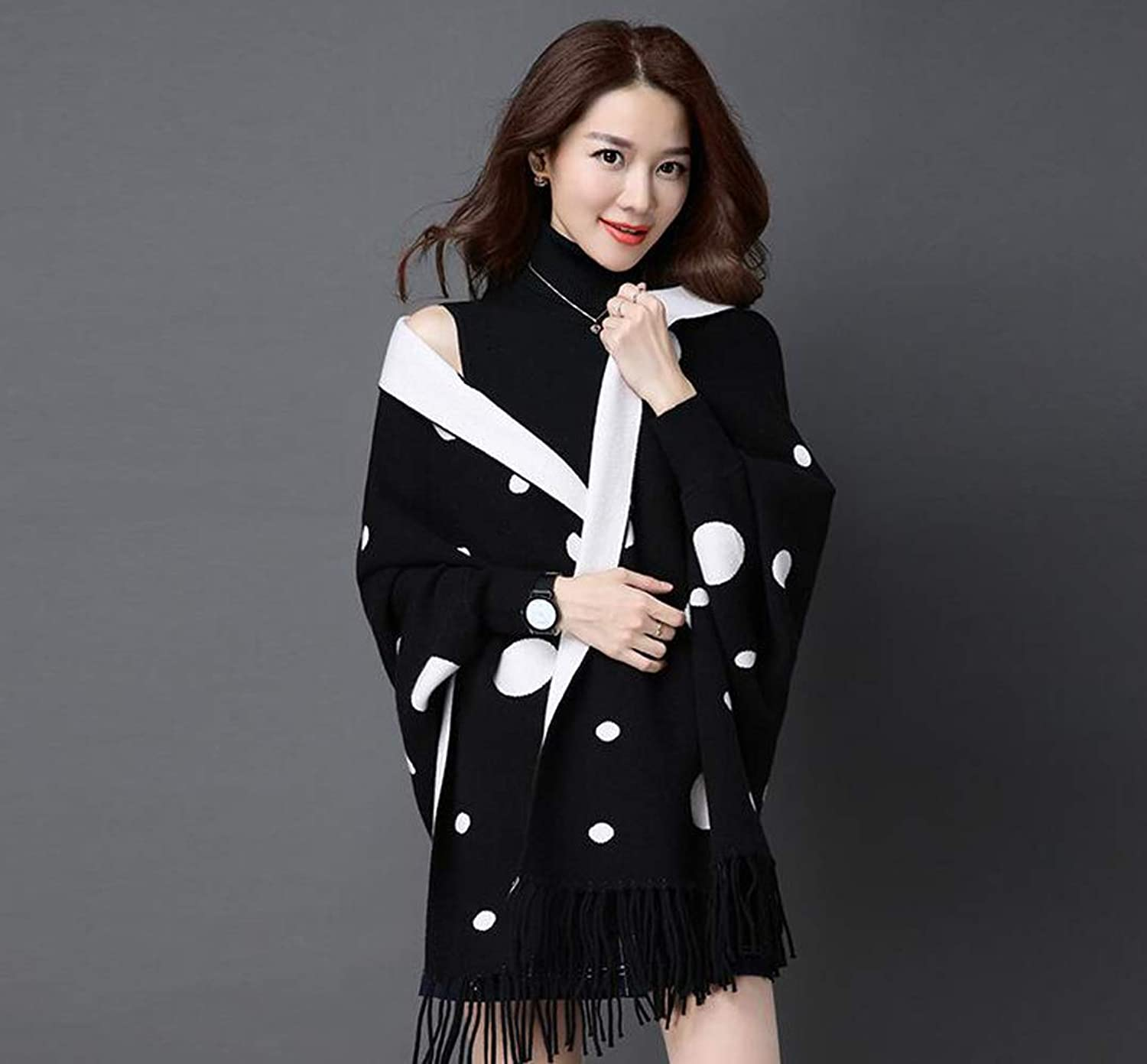JUN Shawl Women's Autumn and Winter New Scarf Dualuse Warm with Sleeves DoubleSided Can Wear Tassel Cloak Cloak Jacket (color   E)