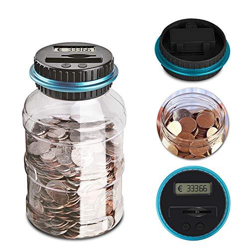 ONEVER Moneda Digital Grande Que Cuenta el Dinero Que Ahorra Caja del Banco del Tarro Monedas de la exhibición del LCD Que ahorran el Regalo
