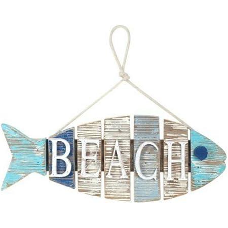 CAPRILO Adorno Pared Decorativo de Madera Pez Beach. Cuadros y Apliques. Decoración Marinera. Regalos Originales. 13.5 x 35 x 3 cm.