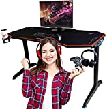 OCD By Design Gaming Computer Desk or Computer Gaming Desk 55' Wide Large Office Table, Pro PC Video Gamer Desk, Multi Colored LED Lights,  Carbon Fiber Surface,  Mouse Pad, Headphone, cup holder